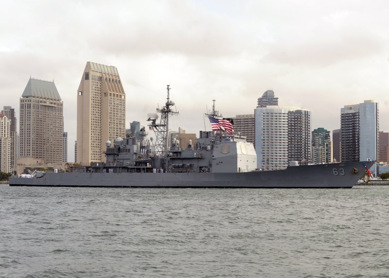 The Ticonderoga-class guided-missile cruiser USS Cowpens arrives in San Diego...