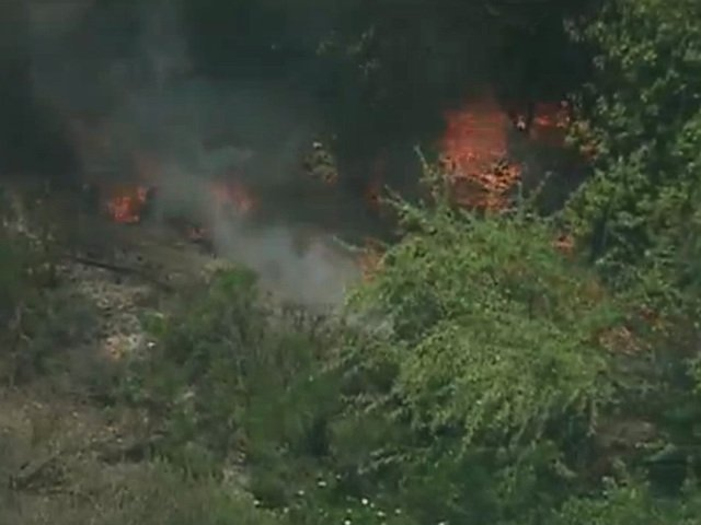 A brush fire was reported in a Serra Mesa canyon near the 8600 block of Hummi...