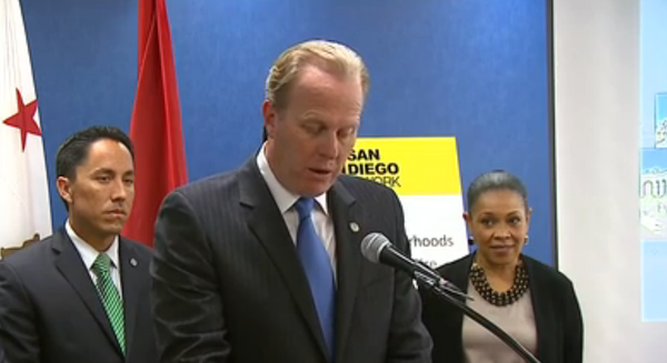 San Diego Mayor Kevin Faulconer presents his proposed fiscal 2015 budget at a...