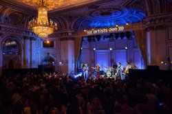 "Peter Stroud, Sheryl Crow, Fred Eltringham, Robert Kearns, Audley Freed and Jennifer Gunderman. On the eve of the release of her new album, ""Feels Like Home,"" nine-time Grammy winner Sheryl Crow delivered a powerhouse performance in the ornate Grand Ballroom of The Plaza in New York City."