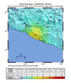 This map shows the epicenter of the earthquake located in the Mexican state of Guerrero, southwest of Mexico City. The area in yellow indicates strong perceived shaking and light potential damage.