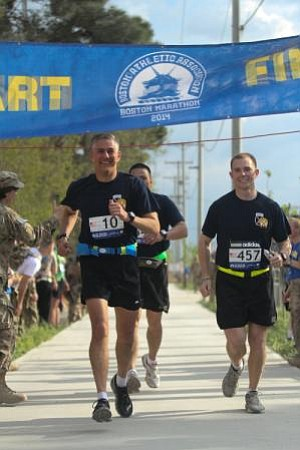 Boston Marathon Shadow Run at Bagram Air Field, Afghanistan, April 18, 2014.