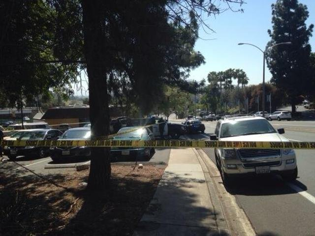 Spring Street near Palm Avenue in La Mesa was closed, as were other streets i...