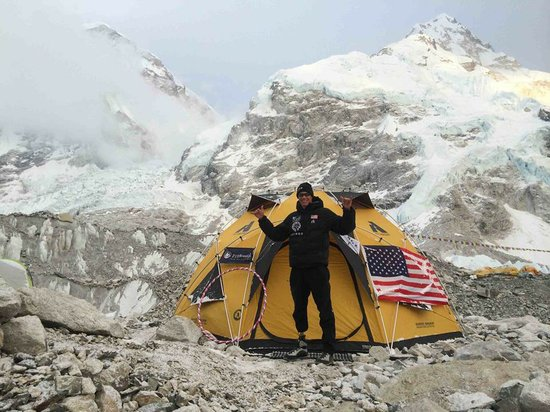 Marine veteran Staff Sgt. Charlie Linville at Everest Base Camp.