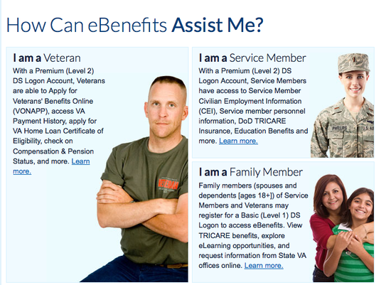 Screenshot of ebenefits.va.gov website
