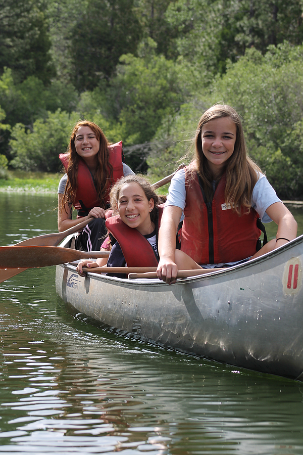 Campers enjoy canoeing  at Camp Mountain Chai.
