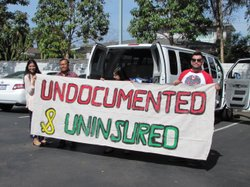 Health care and immigrant rights advocates travel around California to raise awareness about the lack of health coverage for undocumented immigrants, April 23, 2014.