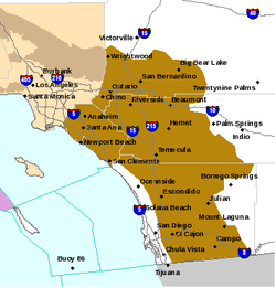 In this National Weather Service map, areas in brown indicate a region under a high wind advisory, April 28, 2014.
