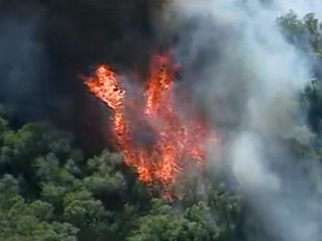 A brush fire near the San Diego River in Santee is seen from the 10News helic...