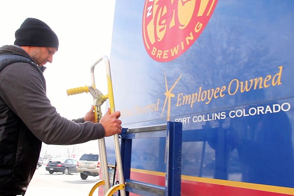 New Belgium Brewery employee-owner Michael Miller, out for a day of deliverie...