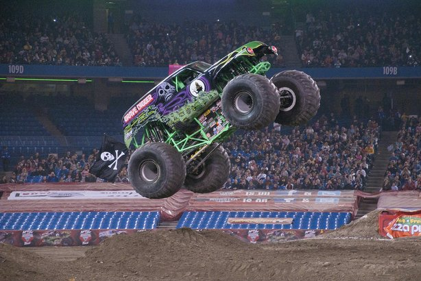 "Monster truck ""Grave Digger"" gets some air off a jump on Jan. 20, 2013."