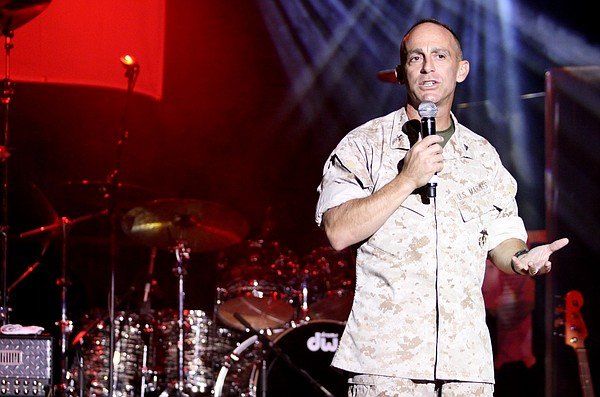 "Col. Nicholas Marano welcomes Camp Pendleton residents to ""The Lt. Dan Band"" ..."