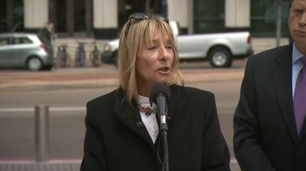 Former San Diego City Councilwoman Donna Frye address the media, May 6, 2014.