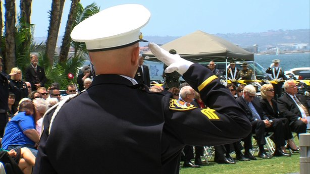 A San Diego police officer salutes during the 30th annual Law Enforcement Off...