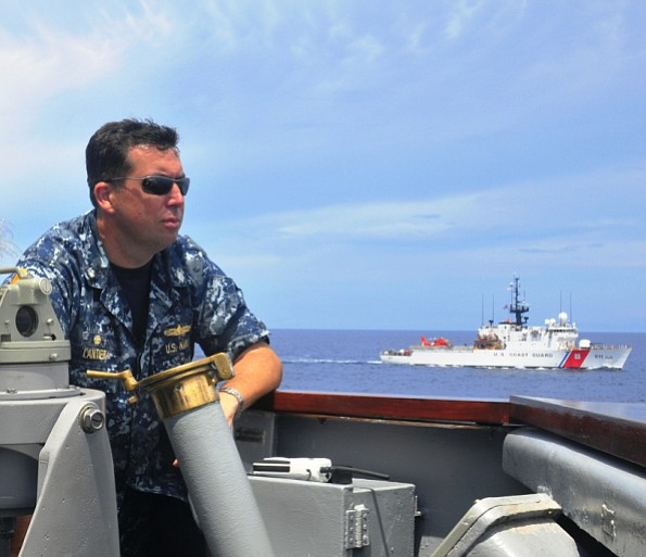Cmdr. Lance C. Lantier on the bridge of the USS Rentz