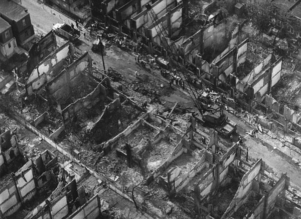 The aftermath of the fire on Osage Avenue in May, 1985.
