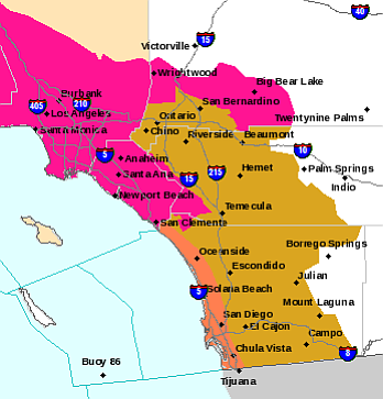 A red flag warning has been issued for San Diego County, May 12, 2014. A heat...