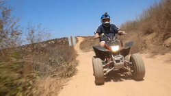 Host Jorge Meraz takes an ATV ride on mountain trails, Las Cañadas Campground.