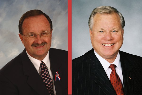 Oceanside Mayor Jim Wood, left, is seeking to unseat five-term San Diego Coun...