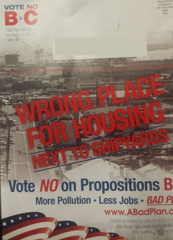 A mailer sent out urging a no vote on Propositions B and C, which would resci...