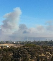 Smoke from the Pulgas Fire is seen from Oceanside, May 16, 2014.