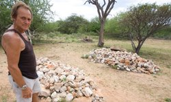 Tony Fitzjohn at George Adamson's Grave.