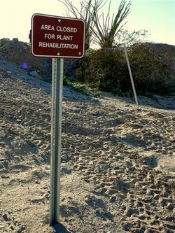 Sign in the sand at Ocotillo Wells asks riders to stay away from area so plan...