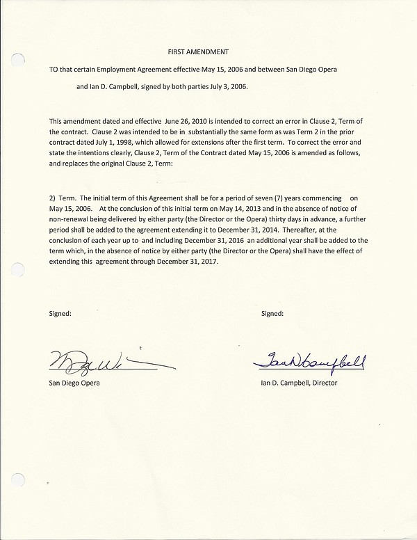 An amendment to Ian Campbell's employment contract with the San Diego Opera s...