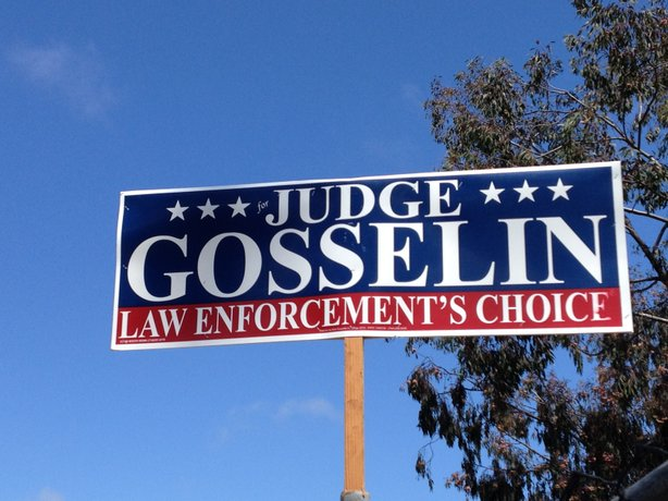 A Ken Gosselin campaign sign on Del Mar Heights Road, May 21, 2014.