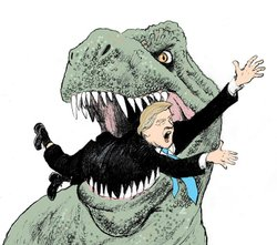 "A tyrannosaurus Rex grinding it's teeth on Donald Trump, from Pulitzer Prize-winning editorial cartoonist Steve Breen's new book, ""Unicorn Executions and Other Crazy Stuff My Kids Make Me Draw."""