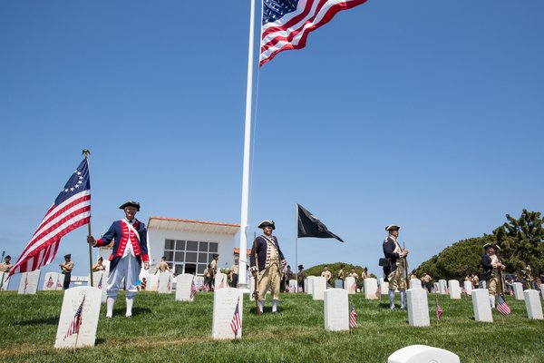 L to R, George Biles, Ernest McCullough, William Tisch, Tom Kubow, of the Sons of the American Revolution, Fort Rosecrans National Cemetery, May 26, 2014.