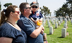 L to R, Amy, Kyle and William Archer from Ocean Beach, San Diego, at Fort Rosecrans National Cemetery, May 26, 2014.
