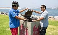 L to R, Lester Sebestian and Rommel Geronimo from Rancho Bernardo at Mission Bay, Memorial Day, May 26, 2014.