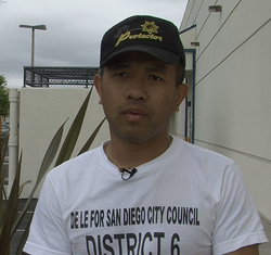 De Le speaks to KPBS News about his run for City Council, May 22, 2014.