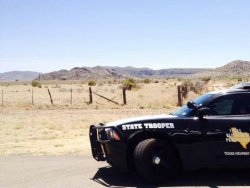 A Texas state trooper patrols the border.
