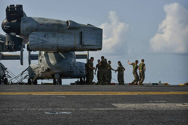 22nd MEU Marines practice Marine Corps Martial Arts on USS Bataan flight deck...