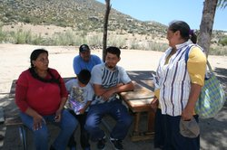 The Meza-Calles family on their land in the Kumeyaay community, Juntas de Nej...