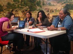 Linguist Margaret Field works with three of the Meza-Calles sisters on documenting the Kumeyaay language. May 12, 2014.