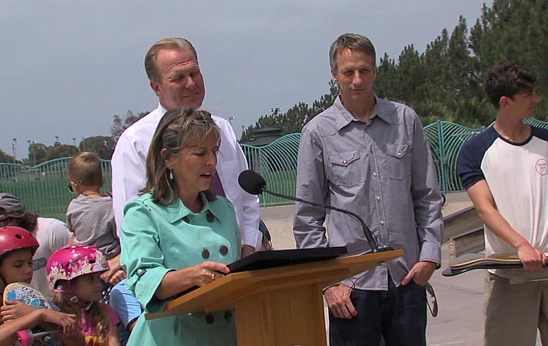 San Diego Councilwoman Lorie Zapf speaks at Robb Field Skate Park with San Di...