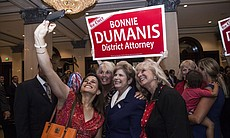 District Attorney Bonnie Dumanis takes a selfie with supporters at the U.S. Grant Hotel in San Diego on the night of the primary election, June 3, 2014.