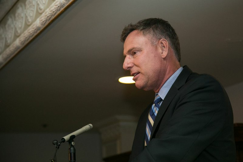 Incumbent Congressman Scott Peters speaks at the Athens Market Taverna in San...