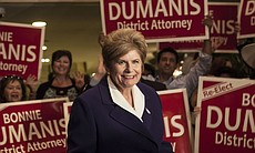 District Attorney Bonnie Dumanis smiles amid a crowd of supporters at the U.S. Grant Hotel in San Diego on the night of the primary election, June 3, 2014.