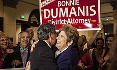 District Attorney Bonnie Dumanis hugs a supporter at the U.S. Grant Hotel in San Diego on the night of the primary election, June 3, 2014.
