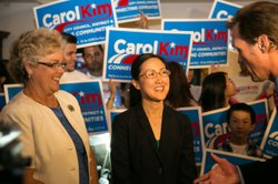 Carol Kim, candidate for San Diego City Council district 6, at Athens Market Taverna in San Diego after results show she will face candidate Chris Cate in the runoff election in the fall, June 3, 2014.