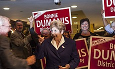 District Attorney Bonnie Dumanis reacts to a su...