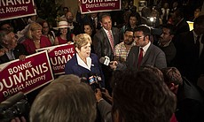 District Attorney Bonnie Dumanis speaks to local media at the U.S. Grant Hotel in San Diego after first election results show her leading by a wide margin on the night of the primary election, June 3, 2014.