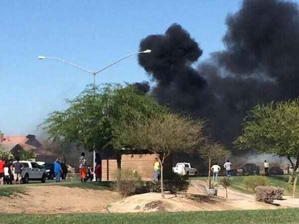 Photo of a military aircraft crash on June 4, 2014 in Imperial Valley, California.