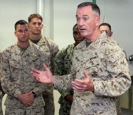 Gen. Joseph Dunford talks to Marines and sailors on Memorial Day, May 28, 2012.