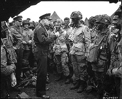 Supreme Allied Commander U.S. Army Gen. Dwight D. Eisenhower speaks with 101s...