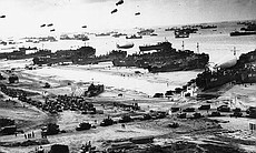 Soldiers in cargo vehicles move onto a beach in Normandy during the... (39614)